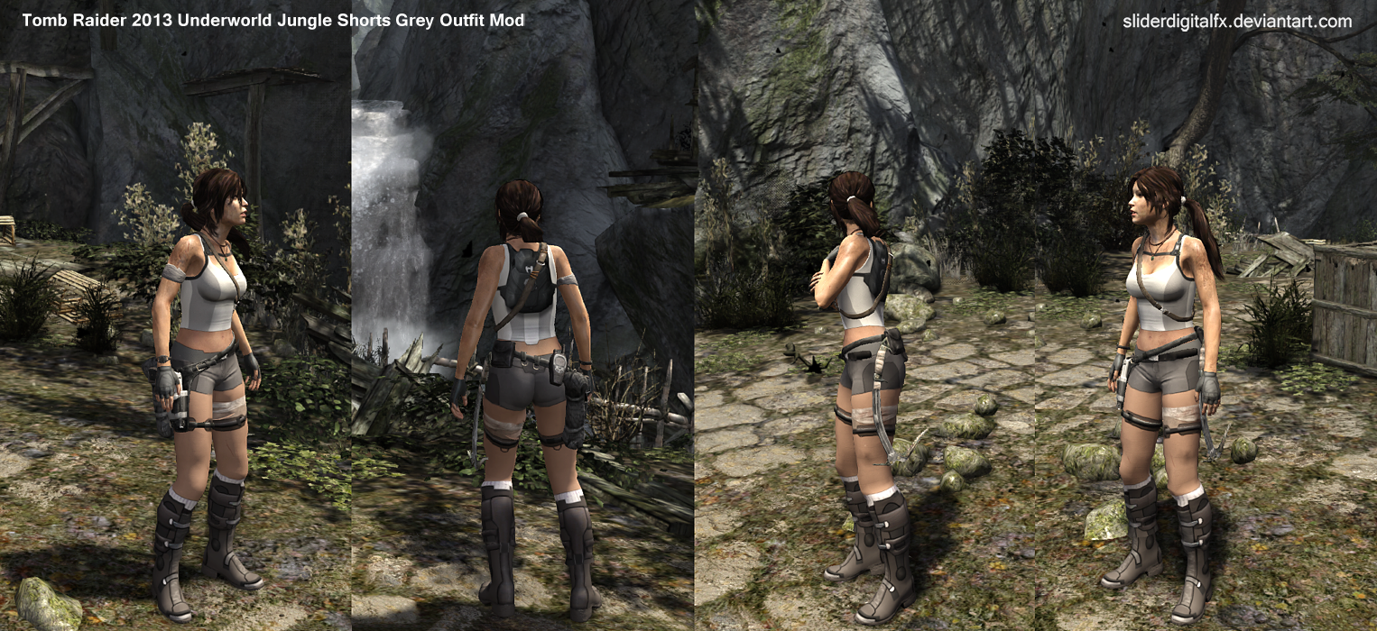 Tomb Raider 2013 Underworld Jungle Shorts Grey Out By