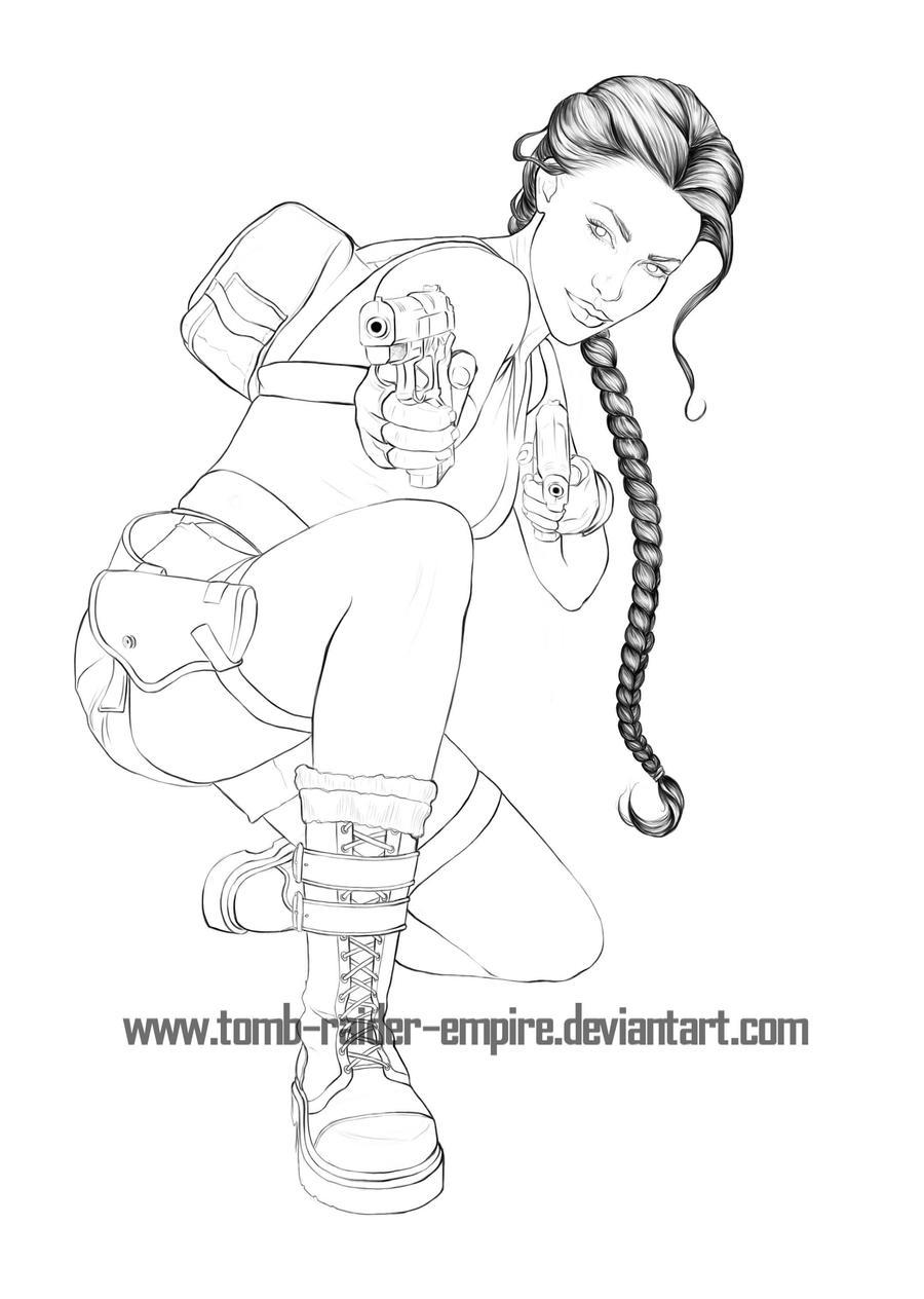 Lara Croft lineart collab by Pencil-Stencil