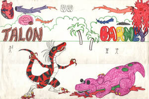 Retro - Talon Vs. Barney by Rapha-chan