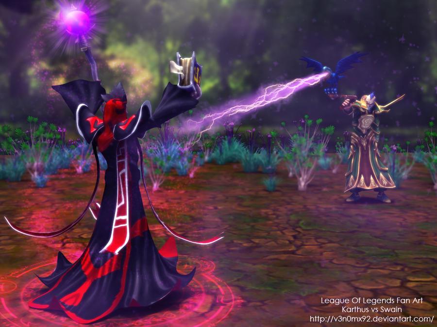 League of Legends Fan Art Karthus vs Swain by V3N0MX92