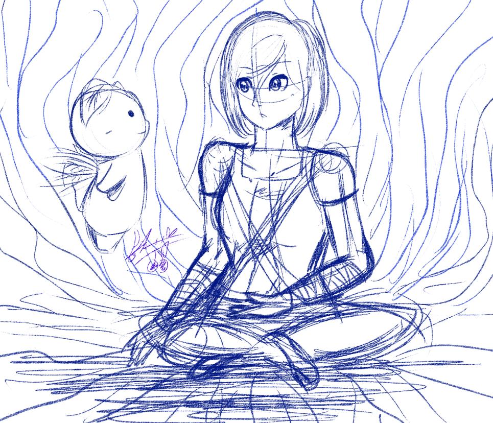 Korra with Yellow Spirit Sketch by chichicherry123