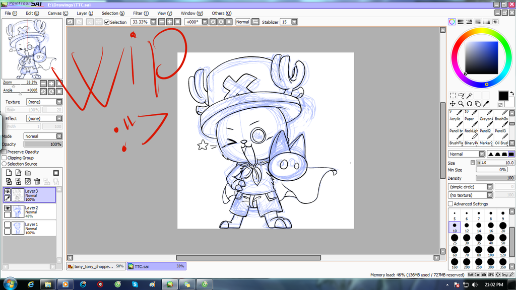 Request for Nguyen Thao : Tony Tony Chopper WIP by chichicherry123