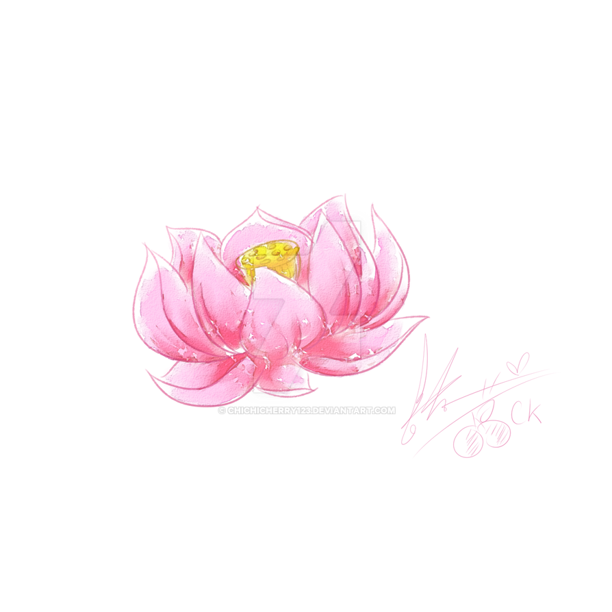 Lotus Flower Watercolor Effect Practice By Chichicherry123 On