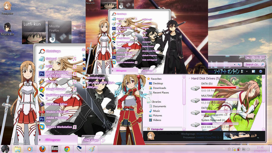 Sword Art Online Theme Windows 7 by lutfikun29