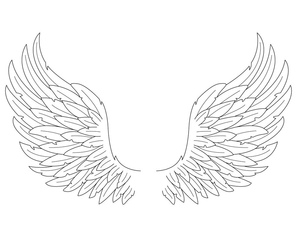 angel wings template outline - photo #21