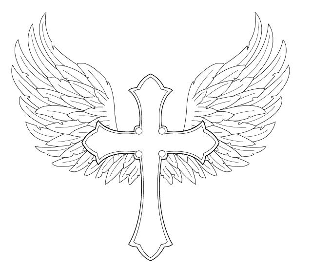 Cross With Wings Drawi...