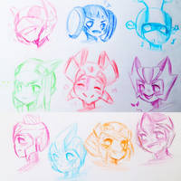 Doodle: chibi heads by Micelux