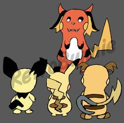 Gorochu and the Pikachu Family (2O18) by Retr0Bunnie