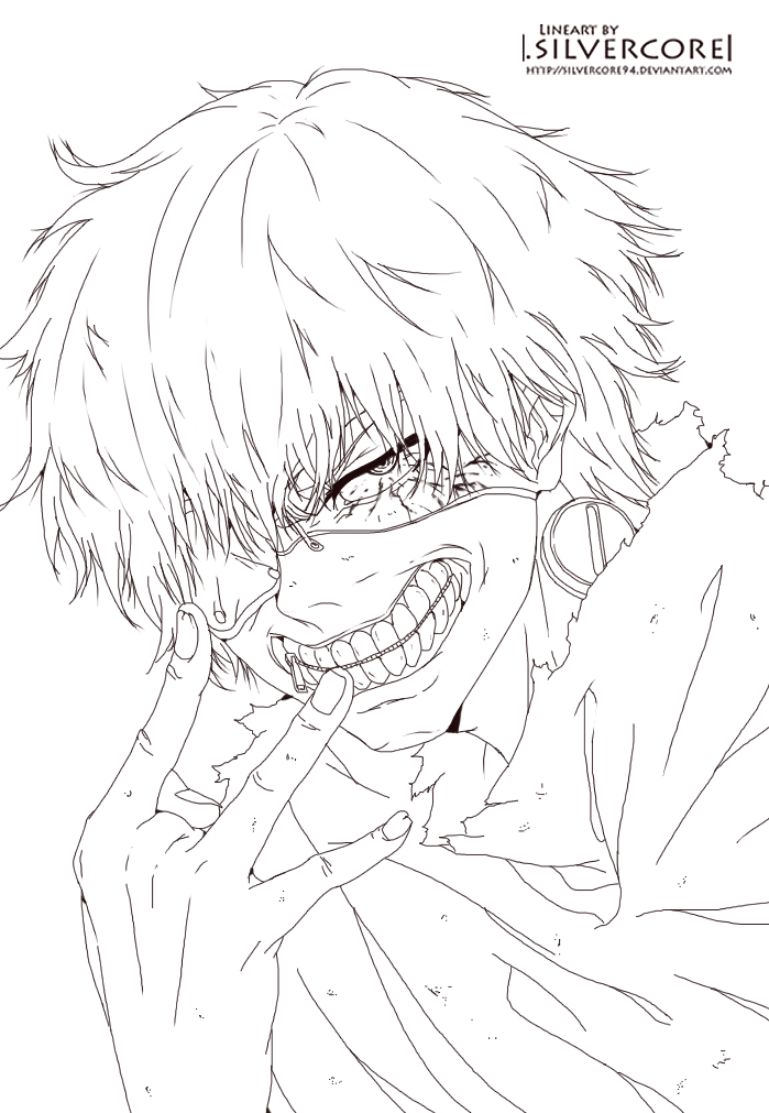 Kaneki Lineart : Tokyo ghoul black and white coloring pages
