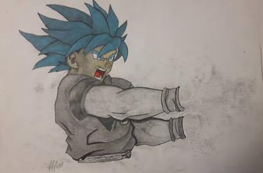 Goku SSJGSSJ SSJBLUE blue goku  with kamehameha ^^