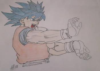 Goku SSJGSSJ SSJBLUE blue goku with kamehameha v2 by FFF13