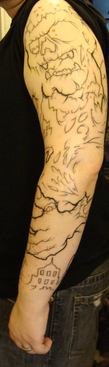 left arm sleeve - Outline comp - sleeve tattoo