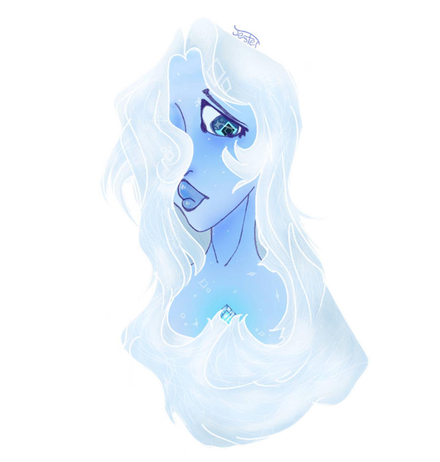 Christmas night I drew a random sketch of a head and it turned into Blue Diamond. Previously posted on my last deviantart account but I deleted it bc I wanted to move pfft
