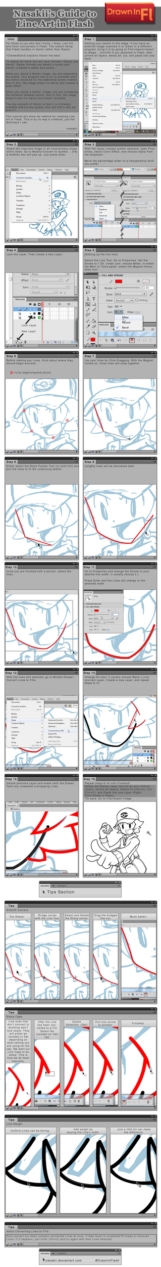 Flash Tutorial: Line Art by nasakii