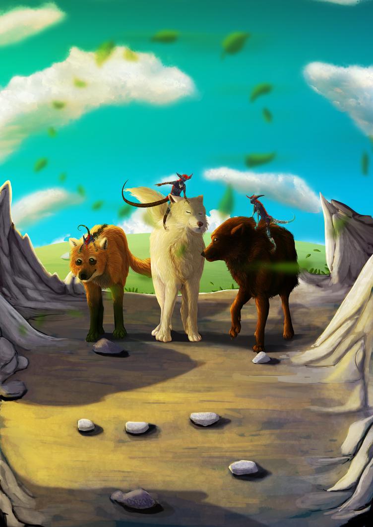 Three wolves by Akuma-draw
