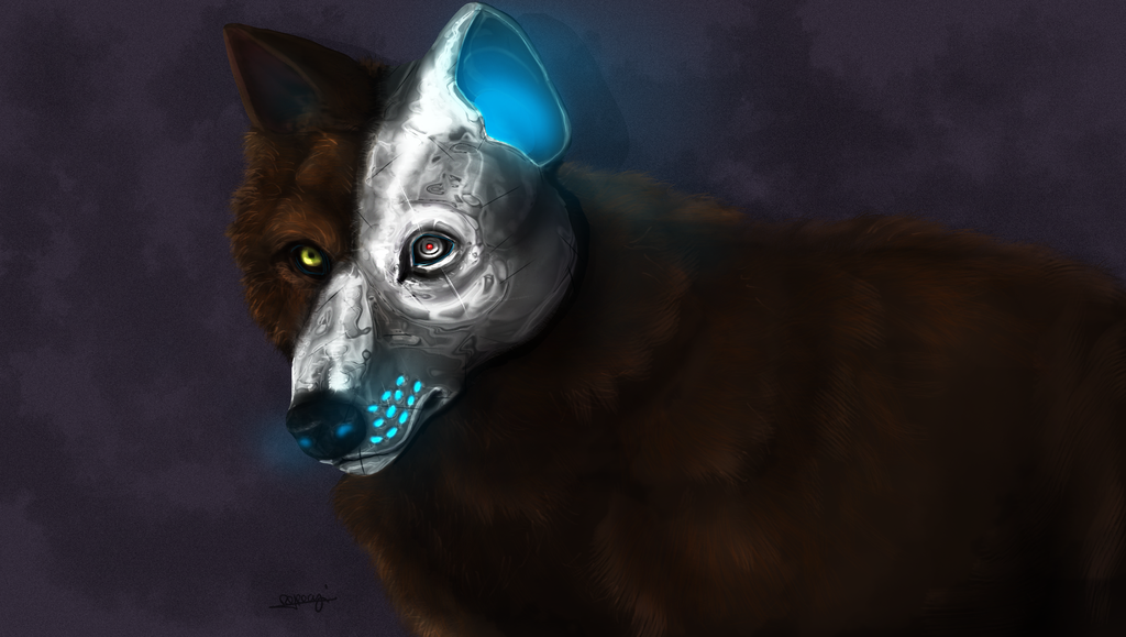 how to draw a realistic robot wolf
