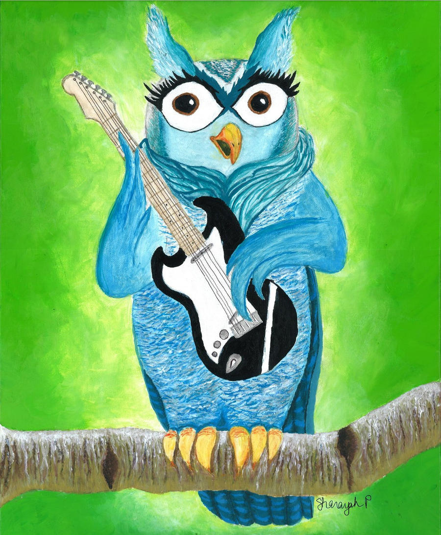 owl playing the guitar - photo #14