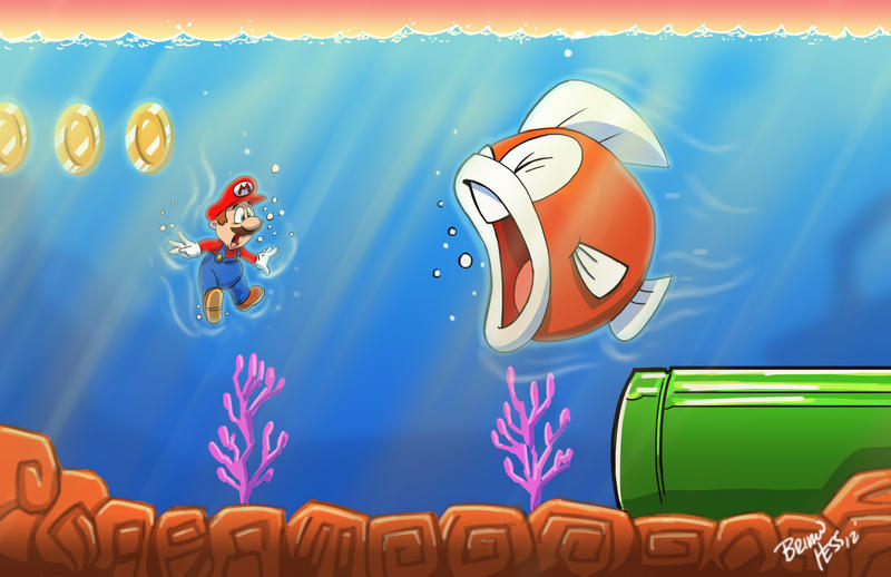 Mario is swimming 39 with the fishes by hesstoons on deviantart for Swimming with the fishes