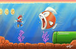 Mario is swimming' with the fishes