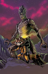 Rocket and Groot by Hesstoons