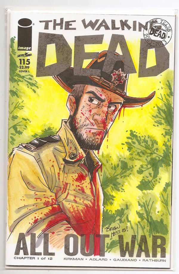 Rick Grimes Walking Dead sketch cover by Hesstoons