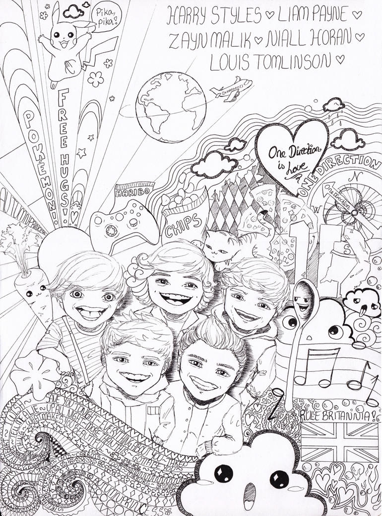 1 direction coloring pages - One Direction Wannabe Doodle Art By Autumnprincess