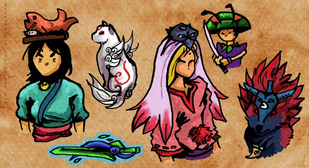 Okami character doodles by lycanthropeful - 1049.8KB