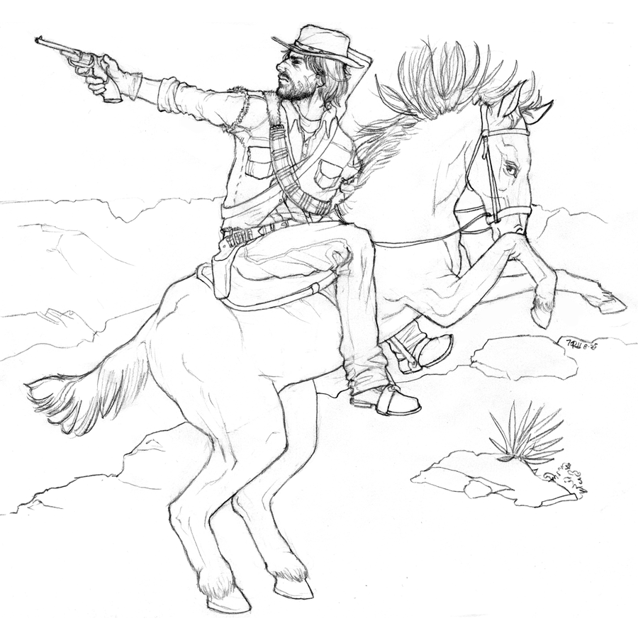 redline coloring pages | Sketch: John Marston by lycanthropeful on DeviantArt