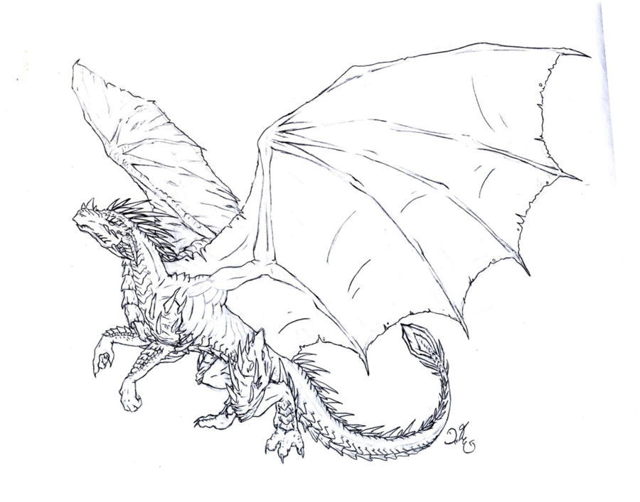 Armored dragon - lineart by dragonlizzard on DeviantArt
