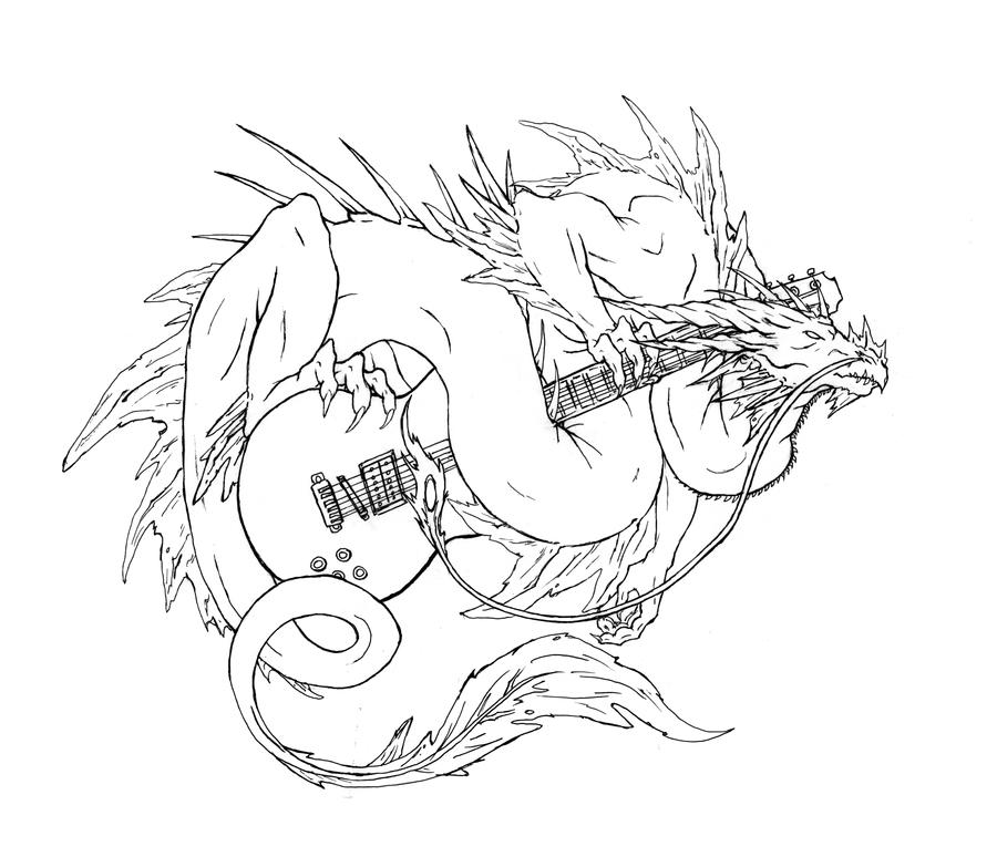 Chineese dragon with a guitar by dragonlizzard