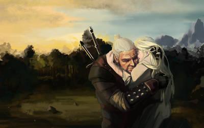 Ciri and Geralt by dragonlizzard
