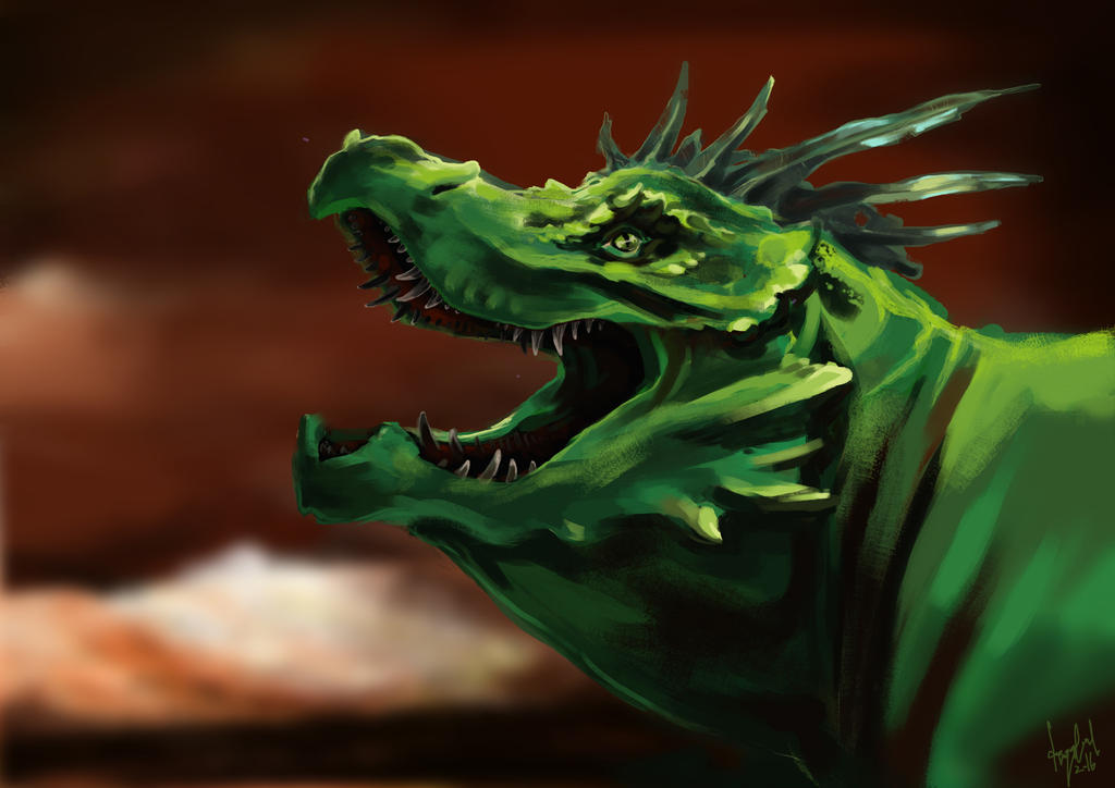 Green Dragon by dragonlizzard