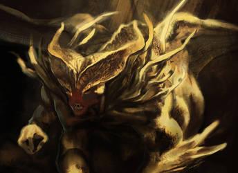Golden gargo - close up by dragonlizzard