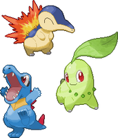 Cyndaquil, Chikorita and Totodile Pixel Over by PeekyChew