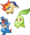 Cyndaquil, Chikorita and Totodile Pixel Over