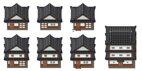 Traditional Japanese Buildings Tiles by PeekyChew