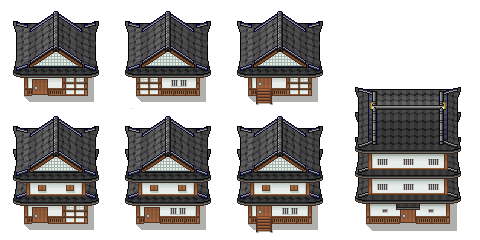 Traditional Japanese Buildings Tiles By Peekychew On