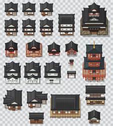 Japanese Style Tileset Mix by PeekyChew
