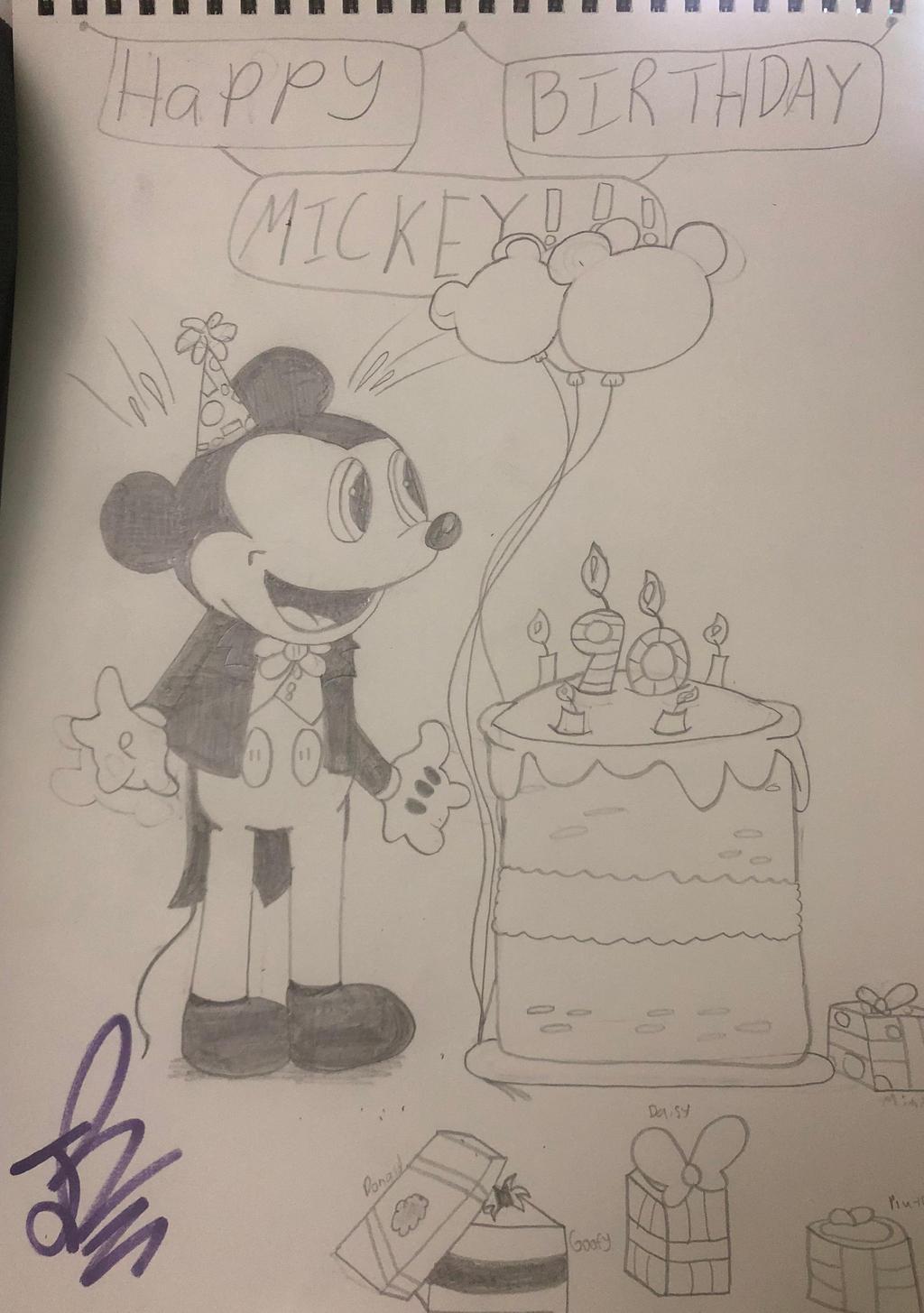 Happy Birthday Mickey Mouse Pencil Sketch By Jrechani18 On Deviantart