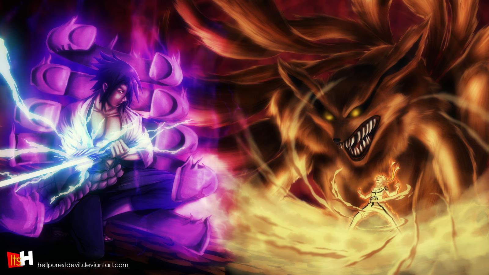 Bijuu Mode Vs Susanoo Naruto VS Sasuke