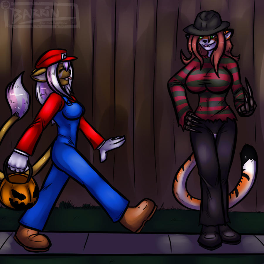 Megas and Erika Trick or Treat by Barrin84