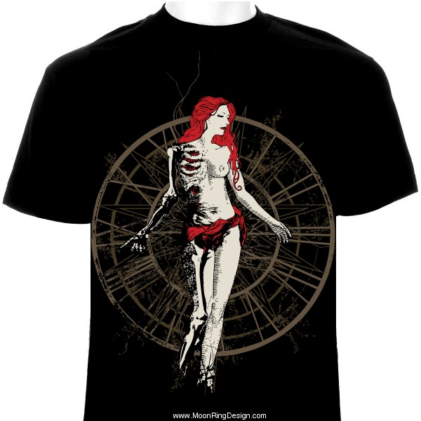 Time Death Woman T Shirt Design Metal Dark Bla By