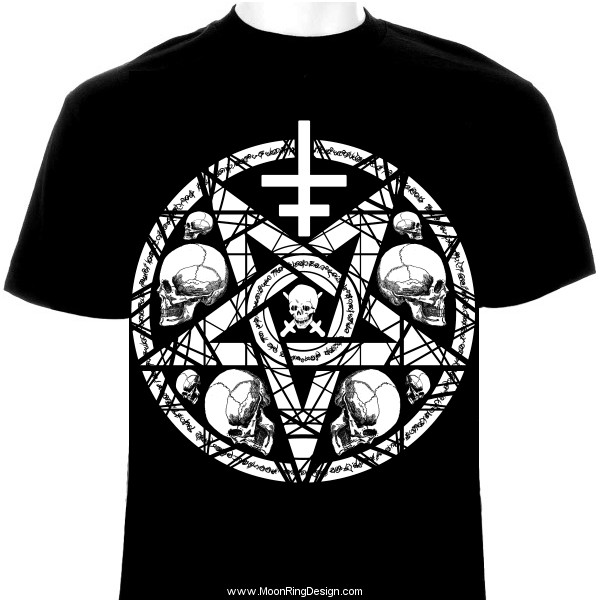 Black Metal T Shirt Dark Design Pentacle Skulls Ex By