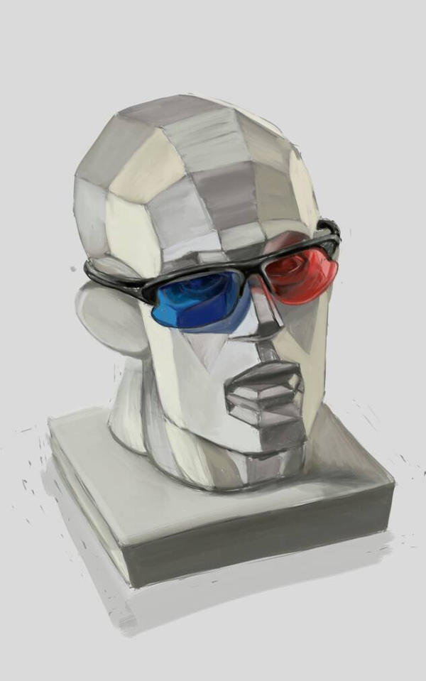 houdon head cut in glasses by hrum