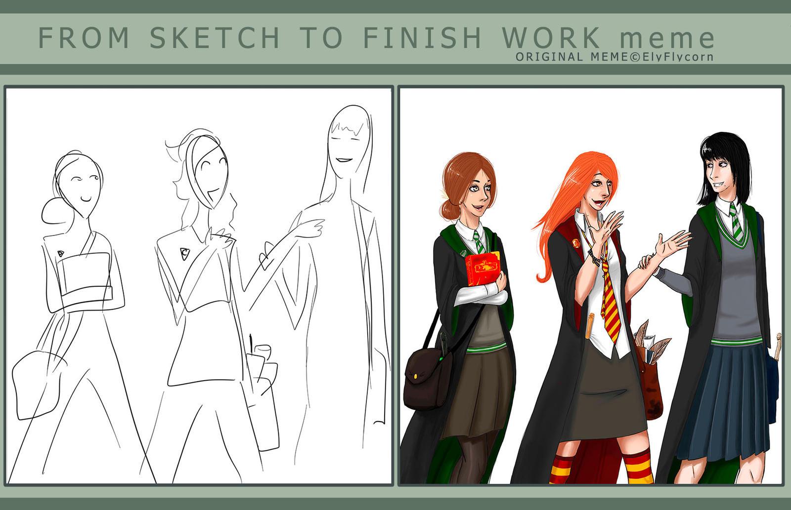 Funny Cartoon Office Meme : Hogwarts company sketch to finish work meme by elgrell on deviantart