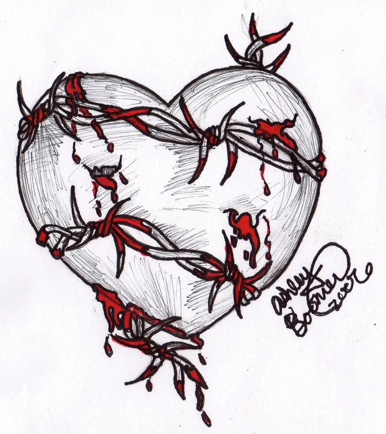 barbed wire heart drawing -#main
