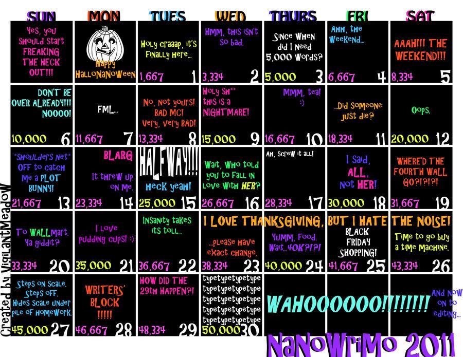 NaNoWriMo 2011 Calendar by VigilantMeadow