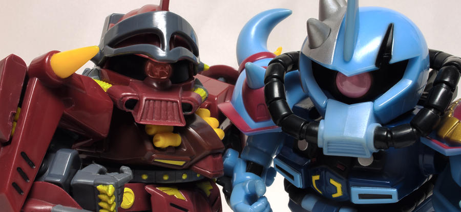Zapper Zaku and Grappler Gouf by Ya-u