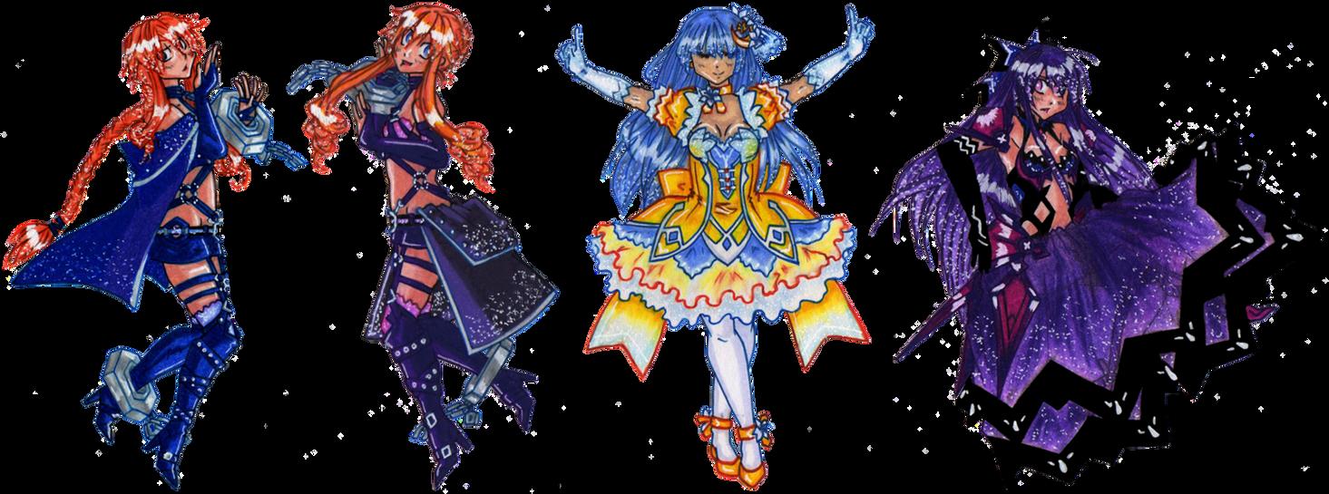 Yamai Twins, Miku, and Inverse Tohka by suzux