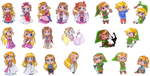 A multitude of Zeldas and Links by suzux